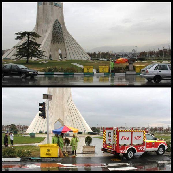 رفع آبگرفتگی از 15نقطه حساس در ورودی شهر تهران