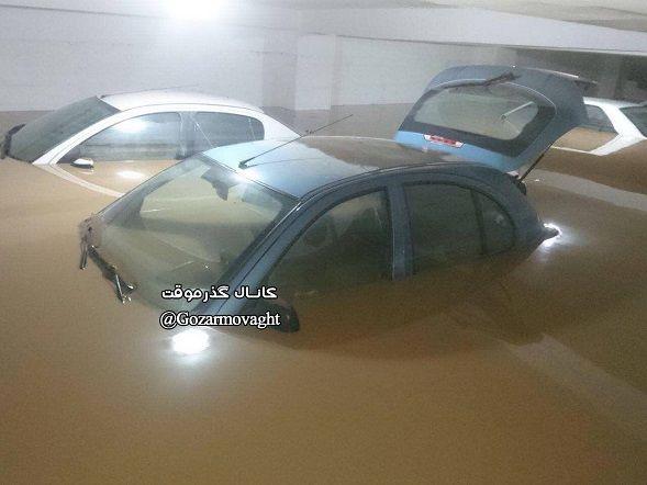پارکینگ یکی از خانه های تنکابنی و به زیر آب رفتن ماشین ها+عکس