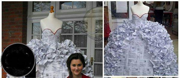 دوخت لباس عروس با 1500 برگه دادخواست طلاق+عکس
