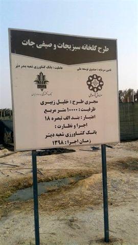 افتتاح گلخانه داربستی 10 هزار متری با حمایت بانک کشاورزی در استان بوشهر