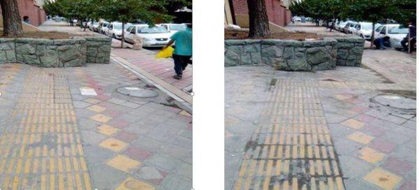 مناسب سازی پیاده روی محور میرداماد جهت عبور نابینایان