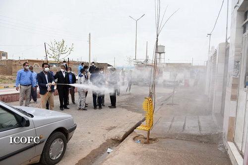 مشارکت شرکت بهره برداری نفت و گاز شرق در طرح گندزدایی و ضدعفونی معابر روستایی سرخس